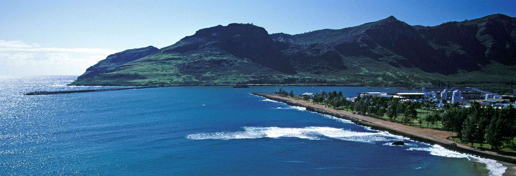Scene of Hawaiian Sea Port and Mountain