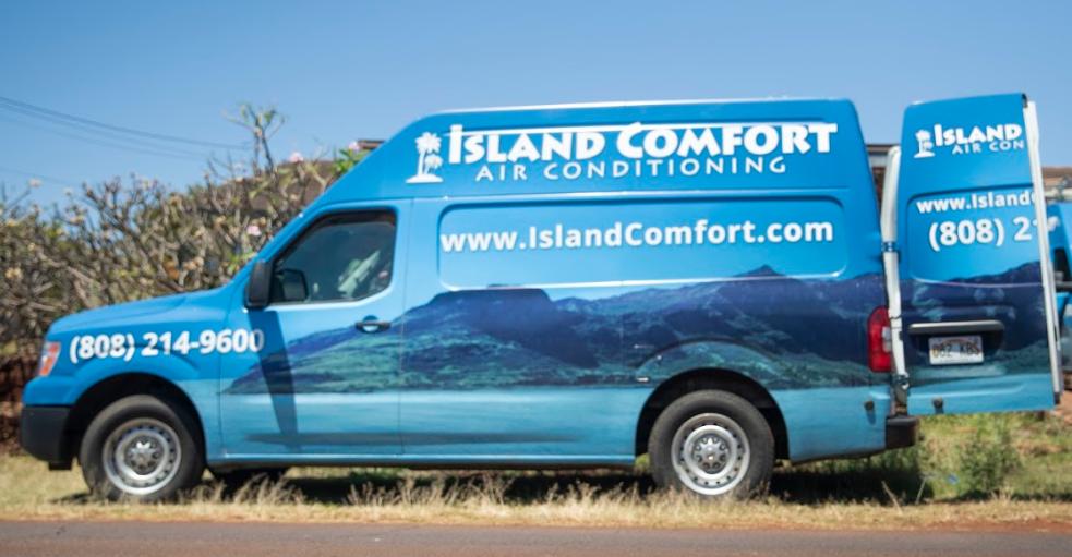 AC van on the side of the road in Kauai