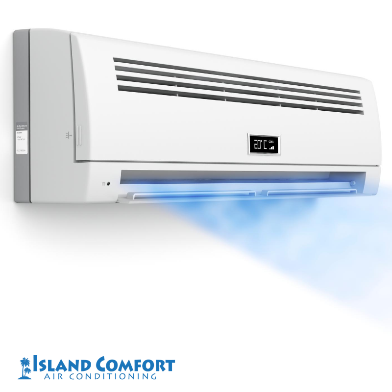 An air conditioner with blue air coming out